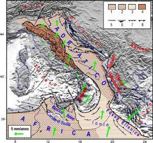 Quadro tettonico/cinematico del Mediterraneo centrale (Mantovani et alii, 2009) zona 4): Settore esterno della catena appenninica, trascinato e sollecitato dalla placca adriatica